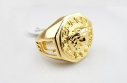 Wholesale Gold Ring Punk - Hot Vintage Gold Metal Hip Hop Ring Golden Medusa Masonic Rings Punk Rock Jewelry Anillos Bar Club Ring For Men Wedding