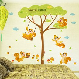 Wholesale Tree Life Decal - Squirrel House Wall Decal Sticker Squirrel Playing under the tree Wall Art Mural Kids Room Decor Animal Forest Wall Applique Poster