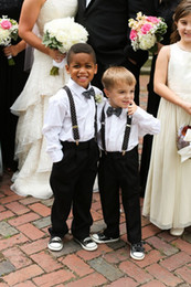 Wholesale Beach Clothes - Wholesale-New 2015 Beach Boys Wedding Clothes With White Shirt + Black Pants + Bow Nicely Kids Tuxedo Suits Cute Formal Clothing