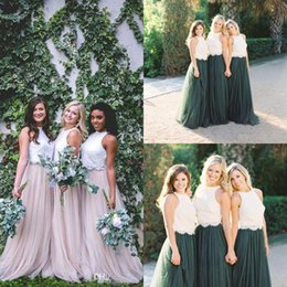 8ea910f1228a 2018 New Two Tone Lace Crop Country Long Bridesmaid Dresses Hunter Green  Plus Size Junior Maid of Honor Wedding Party Guest Gowns