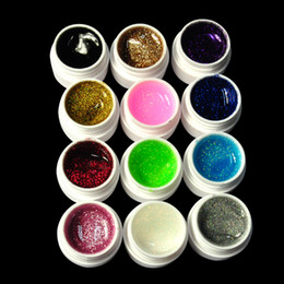 Wholesale Uv Gel Builder Big - Wholesale-Free Delivery Fashion Phototherapy glue 12 Colors Nail Art UV Gel Extension Glitter DIY Builder Set BIG GLITTER
