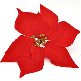 Wholesale Silk Poinsettias - poinsettia Xmas decoration flowers Christmas poinsettia flower heads silk flowers wholesale festival decoratiion flowers free shipping SF010