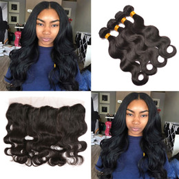 Wholesale Malaysian Body Wave Frontals - Pre Plucked Lace Frontals with Bundles 8A Mink Malaysian Virgin Hair Body Wave 3pcs and Ear to Ear 13x4 Full Lace Frontal Closure