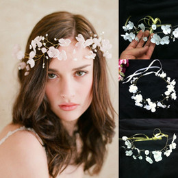 Wholesale Modern Hair Accessories - White Romantic Bridal Wedding Hair Accessories With Beading Pearls Handmade Flowers Modern Golden Metal Hot Sale Wedding Accessories CPA097
