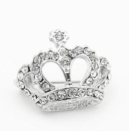 Wholesale Diamante Crowns - 1 Inch Vintage Look Rhodium Silver Plating Clear Rhinestone Crystal Diamante Crown Pageant Gift Pins Brooch