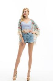Abrigo de chal para mujer online-Al por mayor-Womens florales borlas Chal Kimono Cardigan Coat Jacket Wrap Tops cubren la ropa de mujer de moda