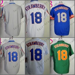 Wholesale Vintage Jersey Baseball - Darryl Strawberry Jersey Vintage New York Jerseys Blue Green Grey Throwback