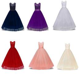 2019 mini vestido del hotsale La pequeña princesa Vestidos de las niñas Tutu de encaje de flores vestido de boda vestido 3-12T años traje de cumpleaños de Navidad Kids Party Wear