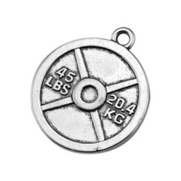 Wholesale Tibetan Round Silver Pendant - 50Pcs Disc Charm Vintage Metal Tibetan Silver Round 20.4KG BBMAN BARBELL Weight Fitness Pendant Necklace Bodybuilding Gym Jewelry
