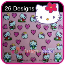 Wholesale Nail Patch Decal - Free Shipping New 3d Nail Sticker Decal Hello Kitty Cat Designs Art Decoration Wholesales 26 Different Styles Patch Set Tip