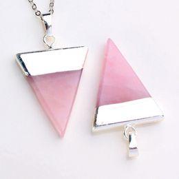 Wholesale Pyramid Jewelry - Crystal Pendants Triangle Pyramid Slice Charms Natural Stone Amethyst Crystal Quartz etc Accessories European Fashion Jewelry