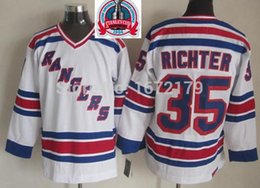 Wholesale 1994 New York Rangers - 2016 New, CHEAP 1994 STANLEY CUP CHAMPIONSHIP VINTAGE NEW YORK RANGERS #35 MIKE RICHTER WHITE THROWBACK STITCHED MENS ICE HOCKEY JERSE