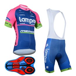 Lampre ciclismo jersey online-Lampre 2017 Mountain Racing Bike Cycling Clothing Set / Breathable Bicycle Cycling Jerseys Ropa Ciclismo / manga corta ciclismo ropa deportiva D0607