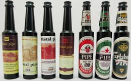 Wholesale Wine Bottle Types - 5pcs lot smoking pipe wine bottle metal pipe tobacco pipe aluminum pipe mix designs