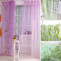 Wholesale Voile For Curtain - Chic Room Willow Pattern Voile Window Curtain for Door Window Room Decoration Window Screening Pastoral Curtains Bedroom Decor H16139