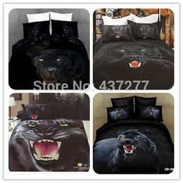 4pc Set Manly Panther 3d Animal Bedding Duvet Cover Set With Bed Sheet Queen Size Bed Clothes No Comforter Home Textile From Dropshipping Suppliers