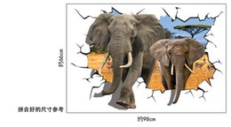 Wholesale Elephant Bathroom - 70*100CM African antelope to heavy elephant 3D effect can be moved plane wall stickers free shipping HK16