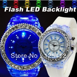 Wholesale Silicone Watch Free Ups - 50pcs lot 2012 Geneva diamond stone silicone flash up backlight watches With LED light free shipping