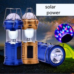 Wholesale Solar Cell Garden - Solar Camping Lantern Collapsible LED Party Light Portable Flashlight Rechargeable Solar Power Bank for Cell Phone Tablet Outdoor Hiking