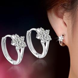 Wholesale Ladies Sterling Silver Earrings - 1 Pair Fashion Women Ladies 925 Solid sterling Silver Zircon Snowflake Ear Studs Earrings Hot Jewelry