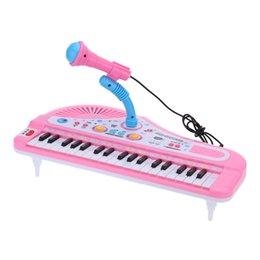 Wholesale Electronic Piano Toy Microphone - 37 Keys Cartoon Mini Electronic Keyboard Music Toy with Microphone and USB Port Educational Electone Gift for Children Beginners