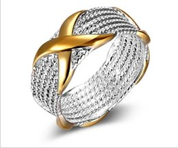 Wholesale Golden China - 925 silver ring for women 925 silver jewelry fashion classic retro folk style color X ring s925 wedding rings Top Golden mix Design