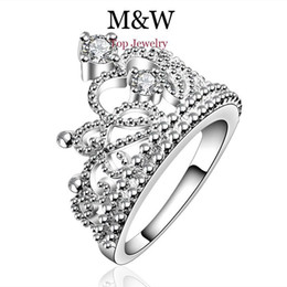 Wholesale Wholesale Crown Gifts - New Arrival Fashion Jewelry AAA Top Grade Cubic Zirconia Diamond 925 Silver Crown Ring For Women Girl Party Gift SL060