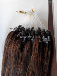 Wholesale Indian Remy Hair Free Shipping - 100g 18inch 20inch 22inch #4 INDIAN REMY Human Micro Ring Hair Loop Hair Extensions Free Shipping