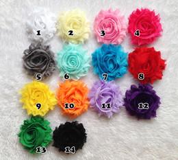 Wholesale Mini Shabby Flower - Hot Sale Mini Shabby Frayed hair Flowers - 2'' Chiffon Fabric fascinator hair accessories