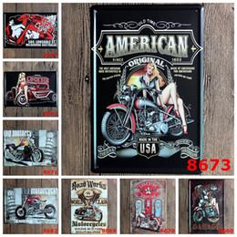 Wholesale Bedroom Sheets - Vintage Metal Wall Sign Motorcycle Gasoline Decor Tin Sign Bar Pub Garage Tin Sheet Plaque Wall Decor Art Poster 20*30cm
