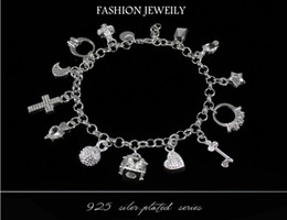 Wholesale Cheap Cross Charms - Best gift cheap hot 925 Sterling Silver CZ Crystal gemstone fashion jewelry cross moon charms silver women bracelet