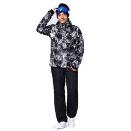 Wholesale Snow Jackets For Men - Wholesale- Skiing and Snowboarding Suit for Men Russian Winter Walk -30 Deegree Warm Male Mountain Skiing Snow Coats Plus size 3XL
