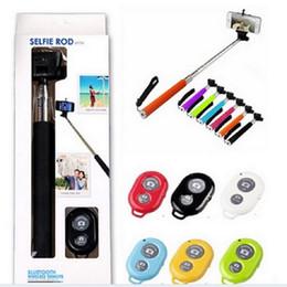 Wholesale Photo Wireless - Selfie Monopod Bluetooth Z07-1 Extendable Handheld selfie sticks Photo Bluetooth Shutter Camera Remote Control monpod + shutter + clip 200pc