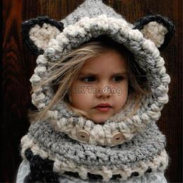 Echarpe à renard blanc en Ligne-Nouveau Mignon Enfants Fox Animal Chapeaux Enfants Doux En Tricot Coif Cap Écharpe Bonnets Pour Automne Hiver Blanc Couleur