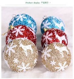 Wholesale Snow Ball Wedding - Snow Hanging Balls Christmas Tree Decorations Balls Xmas Home Party Wedding Ornament Diameter 8cm