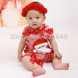 Wholesale Doomagic Christmas - Wholesale-Free Shiping 4pcs Doomagic Santa Claus Baby Sleeveless Bodysuits for Girl Christmas Bodysuit with bowknots Baby Costume Holiday