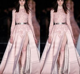 Wholesale Zuhair Murad Vestidos - 2016 Zuhair Murad Long Sleeves Pink Runway Evening Dresses V neck Sequis Beaded Front Split Sexy Prom Gowns Vestidos Custom Made