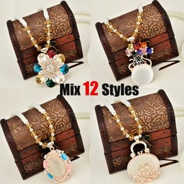 Wholesale Cheap Beads Pearls Necklaces - Fashion Faux Pearl Bead Necklace Women Gift Jewelry Necklace Mix Styles Rhinestone Pendant Charm Bohemian Jewelry Wholesale in Bulk Cheap