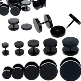 Wholesale Fake Earring Plugs Gauges - 2pcs Black Stainless Steel Fake Cheater Ear Plugs Gauge Body Jewelry Pierceing Earring For Men Hot Sale Free Shipping