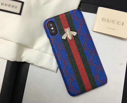 Wholesale Patterns Blue - Luxury brand printing Bee pattern phone case for iphone X 7 6 6S 7plus hard back cover for iPhone8 8plus hight quality
