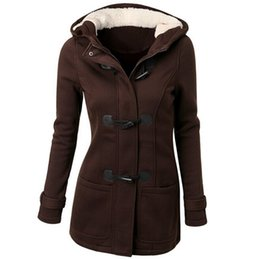 Wholesale Woman Trenchcoat - Wholesale- 2017 Especially long trench coat for women Spring Autumn Overcoat Female Long Hooded Horn Button Outwear trenchcoat