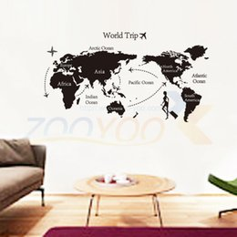 Wholesale World Map Wall Art Decals - world map nursery wall sticker living room office home decorations zooyoo9134 adesivo de parede diy pvc decals mural art 4.0