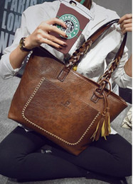 Wholesale Large Ladies Tote Bags - designer women handbags large capacity light dark brown vintage red handbag clutches totes for women