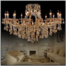Wholesale Large Traditional Chandelier - Large Cognac Glass crystal chandeliers light fixture hotel maria theresa crystal light 17 lamps MD8477 D1200mm H800mm