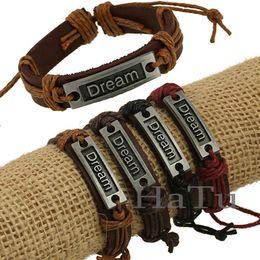 Wholesale Dream Bracelets - Dream Design Texture Handmade Unisex Men Women's Leather Bracelet braided Tribal Bangle Free Shipping 12pcs lot