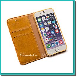 Wholesale Iphone 4s Pouches - utral thin Wallet PU Leather Case Cover Pouch With card slot for iPhone 4S 5S 6 6S PLUS Galaxy S5 S6 EDGE NOTE 4 5 with factory price