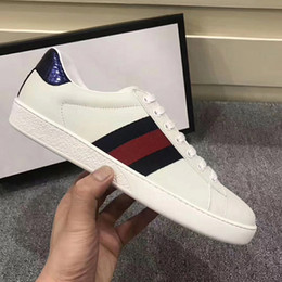 Wholesale Classic Details - The classic low-top sneaker in leather with Web detail. luxury 2017 quality Men's shoes free MATCH-UP SNEAKER Ace leather sneaker size35-45