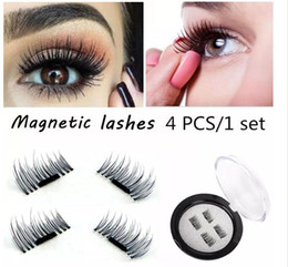 Wholesale Eye Lashes Set - Magnetic Eye Lashes 3D Reusable False Magnet Eyelashes Extension 3D Eyelash Extension Magnetic Eyelashes 4pcs set 200set
