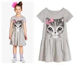 Wholesale Short Sleeve Cat Dress - 2016 Summer Children Short Sleeve Kids Clothes Baby Girl Casual Dress Cat Printing Girls Dress Princess BH2313