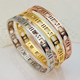 Wholesale Channel Gift Sets - custom jewelry cheap wholesale t brand design retro Roman numerals hollow women bracelet bangle 10 pieces lot free drop shipping